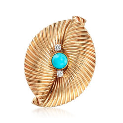 C. 1970 Vintage Tiffany Jewelry Turquoise and .20 ct. t.w. Diamond Pin in 14kt Yellow Gold, , default