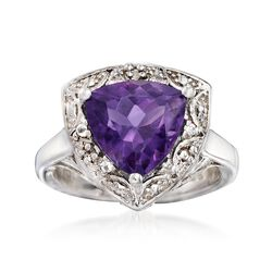 2.50 Carat Trillion-Cut Amethyst and .10 ct. t.w. White Topaz Ring in Sterling Silver, , default