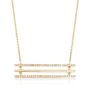 .18 ct. t.w. Diamond Three-Bar Necklace in 14kt Yellow Gold, , default
