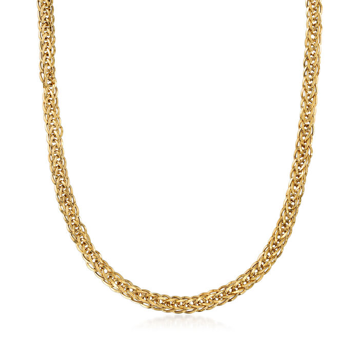 18kt Yellow Gold Flat Wheat-Link Necklace, , default