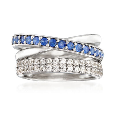 .70 ct. t.w. White Topaz and .60 ct. t.w. Sapphire Highway Ring in Sterling Silver, , default