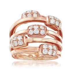C. 1980 Vintage 1.20 ct. t.w. Diamond Highway Ring in 18kt Rose Gold, , default