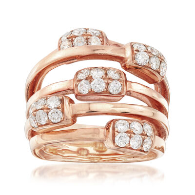C. 1980 Vintage 1.20 ct. t.w. Diamond Highway Ring in 18kt Rose Gold, , default