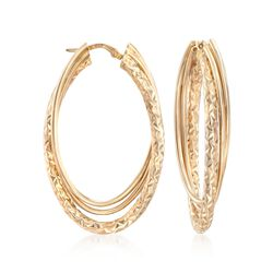 "Italian 14kt Yellow Gold Triple Hoop Earrings. 1 3/4"", , default"