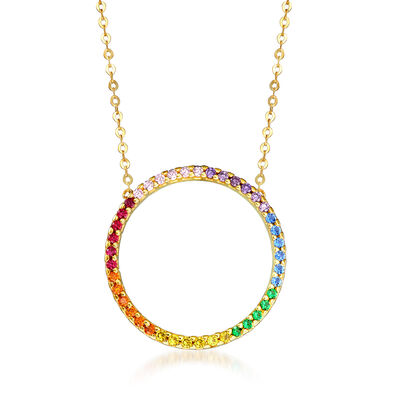 Italian .63 ct. t.w. Multicolored CZ Circle Necklace in 14kt Yellow Gold, , default