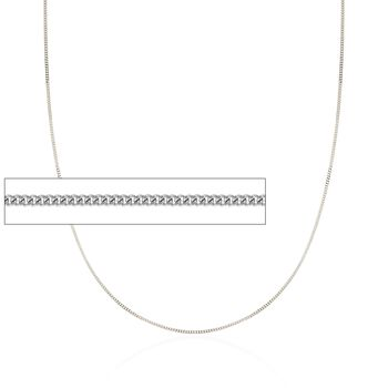 """1mm 14kt White Gold Curb Chain Necklace. 18"""", , default"""
