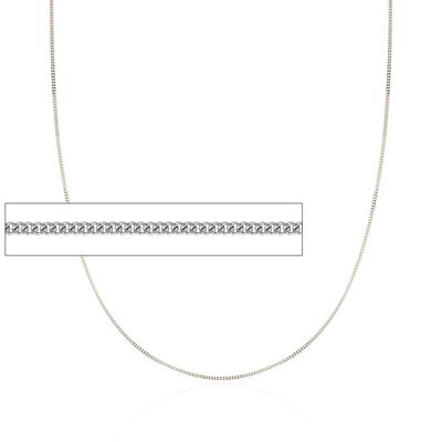 1mm 14kt White Gold Curb Chain Necklace, , default