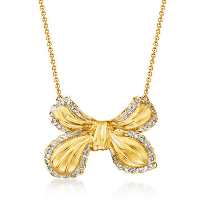 C. 1980 Vintage .50 ct. t.w. Diamond Bow Necklace in 18kt and 14kt Yellow Gold
