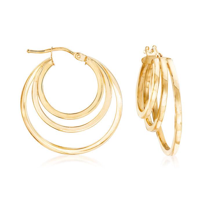 """Italian 18kt Yellow Gold Graduated Triple-Hoop Earrings. 1"""""""