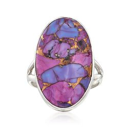 Oval Purple Turquoise Ring in Sterling Silver, , default