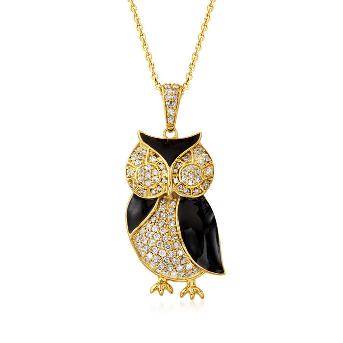 .50 ct. t.w. Diamond Owl Pendant Necklace in 18kt Gold Over Sterling