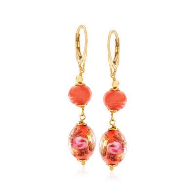 Italian Orange Murano Bead Drop Earrings in 18kt Yellow Gold Over Sterling Silver, , default