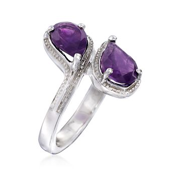 2.10 ct. t.w. Pear-Shaped Amethyst Bypass Ring in Sterling Silver, , default