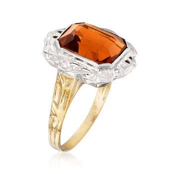 C. 1950 Vintage 2.20 Carat Citrine Ring in 14kt Two-Tone Gold. Size 5.5, , default