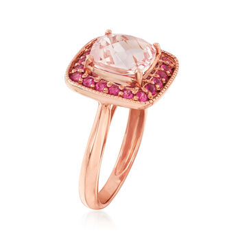 C. 2000 Vintage 1.70 Carat Morganite and .70 ct. t.w. Ruby Ring in 14kt Rose Gold. Size 5, , default