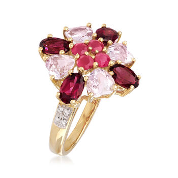 C. 2000 Vintage 4.40 ct. t.w. Multi-Gemstone Cluster Ring in 14kt Yellow Gold. Size 8, , default