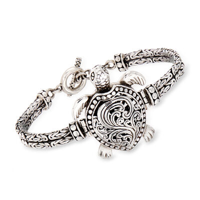 Sterling Silver Filigree Turtle Toggle Bracelet, , default
