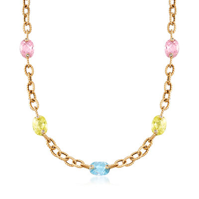 C. 2000 Vintage 40.30 ct. t.w. Multicolored CZ Station Link Necklace in 14kt Yellow Gold