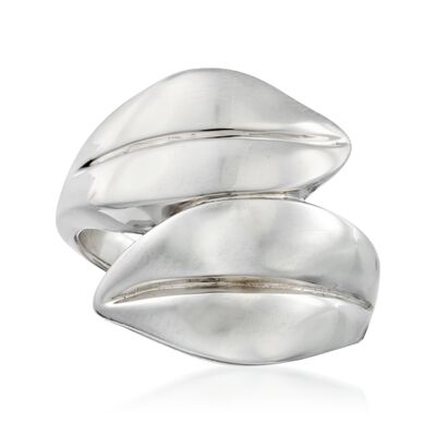 Sterling Silver Leaf Bypass Ring, , default