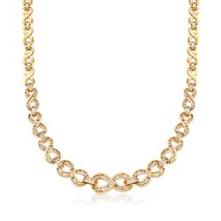 "C. 1990 Vintage 5.00 ct. t.w. Diamond Infinity-Link Necklace in 14kt Yellow Gold. 16.25"", , default"