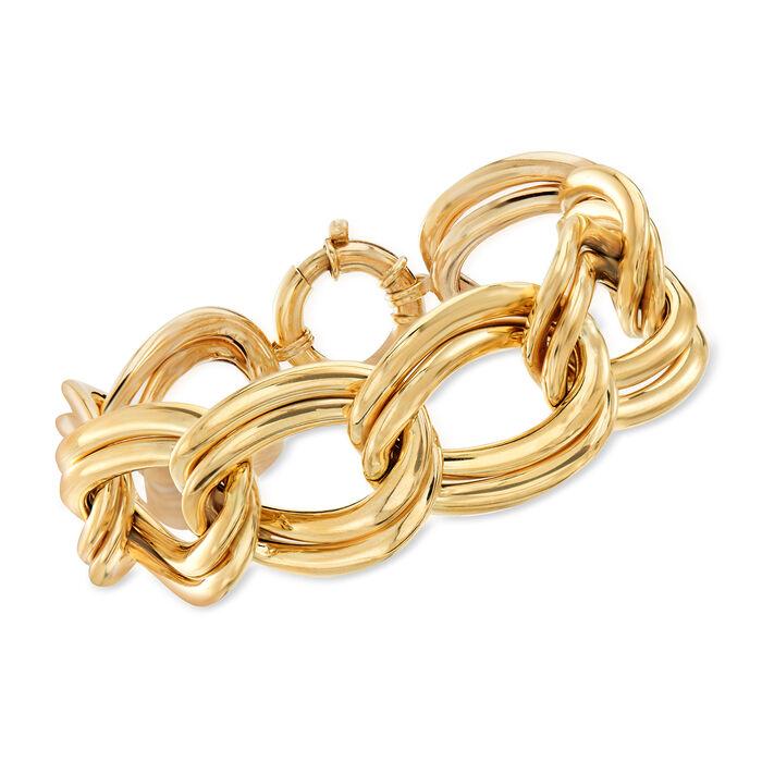 "Italian 14kt Yellow Gold Large Link Bracelet. 8"", , default"