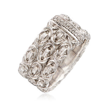 .10 ct. t.w. Diamond Byzantine Ring in Sterling Silver