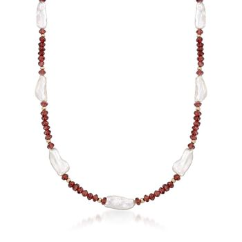 7-8mm Cultured Baroque Pearl and 45.00 ct. t.w. Garnet Bead Necklace With 14kt Yellow Gold, , default