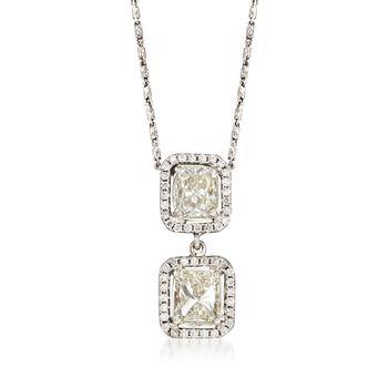 """C. 2000 Vintage 2.42 ct. t.w. Diamond Double Drop Pendant Necklace in 14kt White Gold. 16"""", , default"""