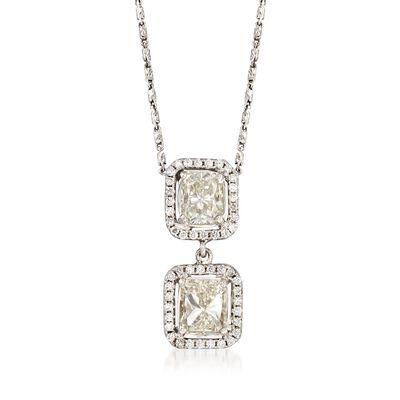 C. 2000 Vintage 2.42 ct. t.w. Diamond Double Drop Pendant Necklace in 14kt White Gold, , default