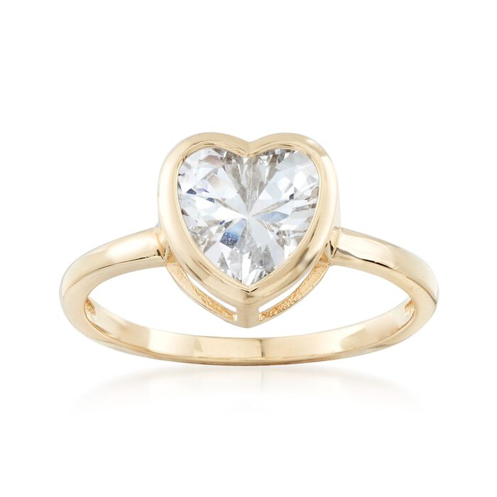 1.75 Carat CZ Heart Solitaire Ring in 14kt Yellow Gold, , default