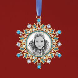 Ross-Simons 2018 Annual Blue and Purple Crystal Holiday Photo Frame Ornament in Gold Plate - 2nd Edition , , default