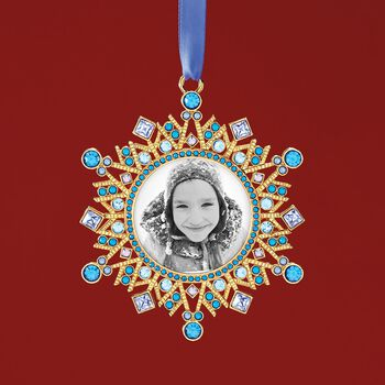 Ross-Simons 2018 Annual Blue and Purple Crystal Holiday Photo Frame Ornament in Gold Plate - 2nd Edition, , default