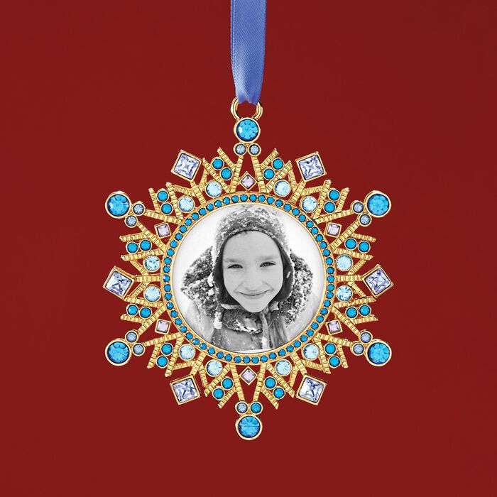 Ross-Simons Blue and Purple Crystal Holiday Photo Frame Ornament in Gold Plate, , default