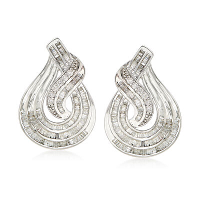 1.50 ct. t.w. Baguette and Round Diamond Twist Teardrop-Shaped Drop Earrings in Sterling Silver, , default