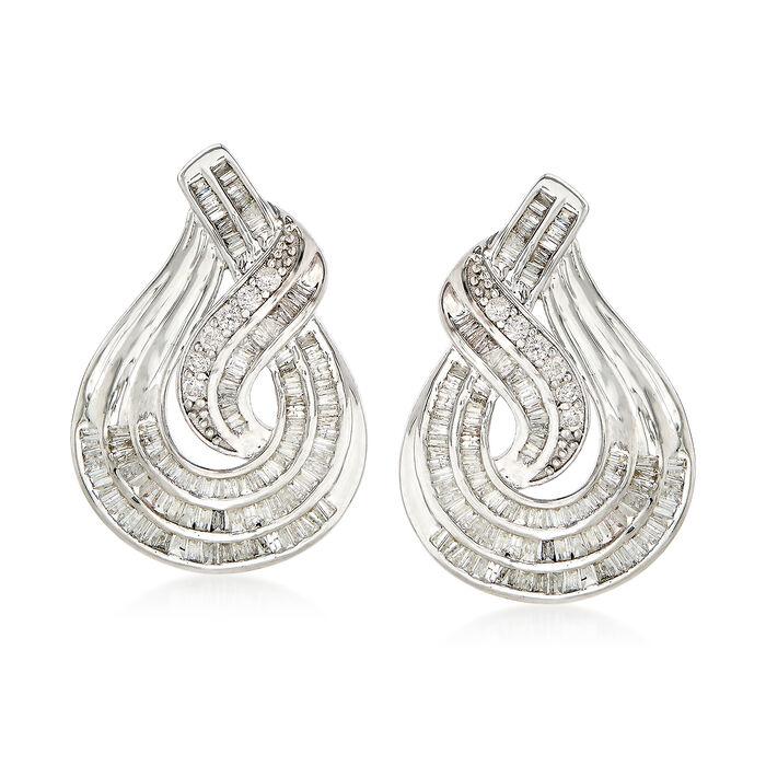 1.50 ct. t.w. Baguette and Round Diamond Twist Teardrop-Shaped Drop Earrings in Sterling Silver, , default