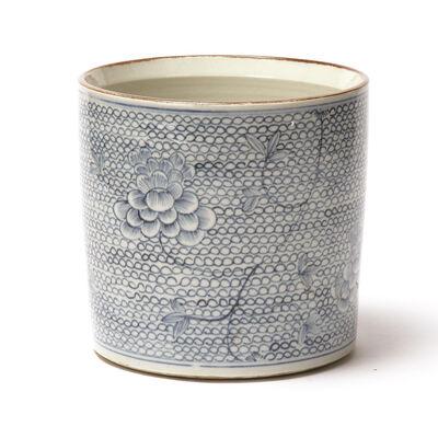 Blue and White Chrysanthemum Flower Pattern Planter Vase, , default