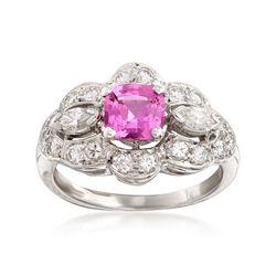 C. 2000 Vintage 1.00 Carat Pink Sapphire and  .70 ct. t.w. Diamond Ring in Platinum, , default