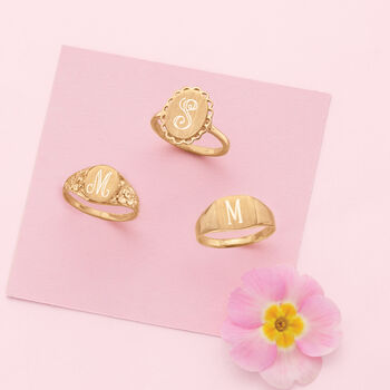 Single Initial 14kt Yellow Gold Floral Signet Ring, , default