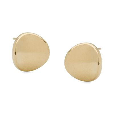 14kt Yellow Gold Curved Button Earrings, , default