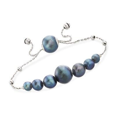 4-9.5mm Graduated Cultured Black Pearl and Sterling Silver Bolo Bracelet, , default