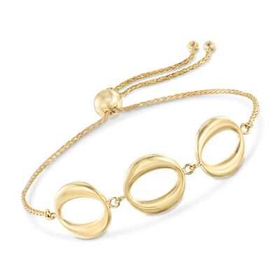 14kt Yellow Gold Three-Station Open Circle Bolo Bracelet, , default