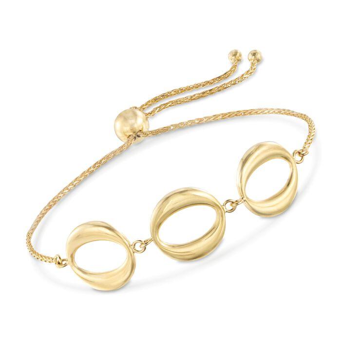 14kt Yellow Gold Three-Station Open Circle Bolo Bracelet , , default
