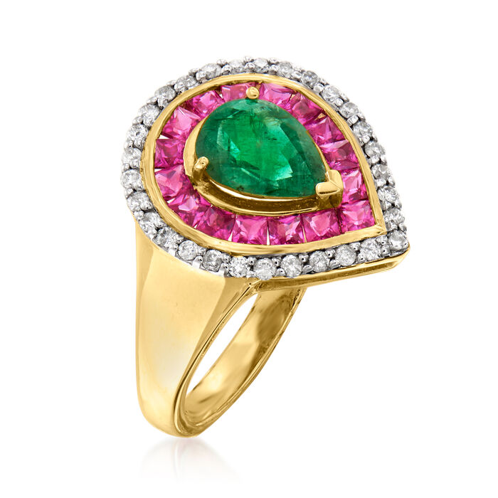 1.00 Carat Emerald, .90 ct. t.w. Ruby and .24 ct. t.w. Diamond Ring in 14kt Yellow Gold