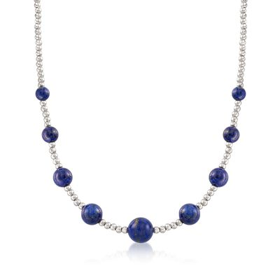 6-10mm Lapis and 3mm Sterling Silver Bead Necklace, , default