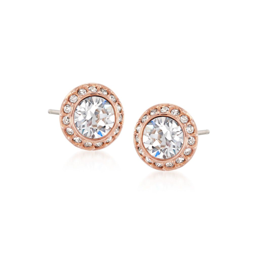 "e05b3cbb9 Swarovski Crystal ""Angelic"" Crystal Halo Stud Earrings in Rose  Gold ..."