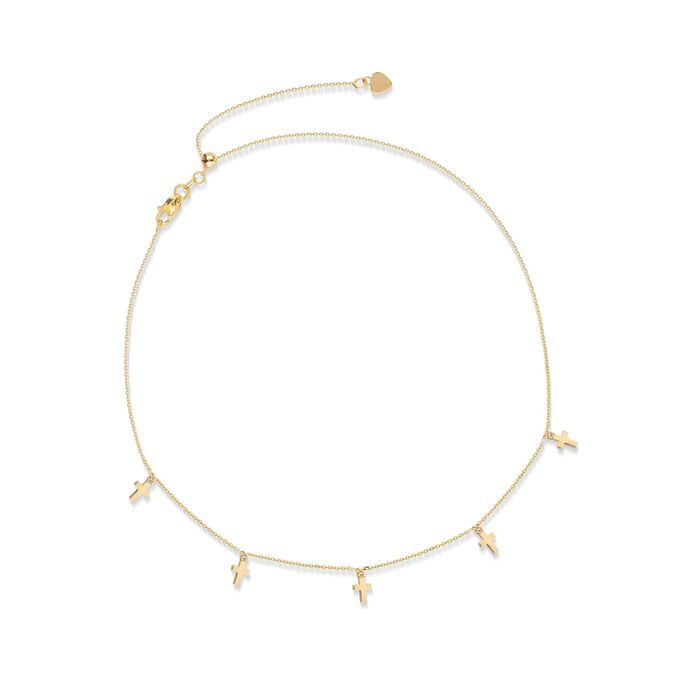 14kt Yellow Gold Multi-Cross Choker Necklace