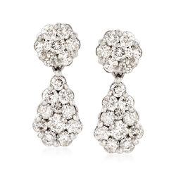 3.00 ct. t.w. Diamond Pear-Shape Drop Earrings in 18kt White Gold, , default