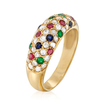 C. 1990 Vintage 1.15 ct. t.w. CZ and .55 ct. t.w. Multi-Gem Ring in 14kt Yellow Gold. Size 7