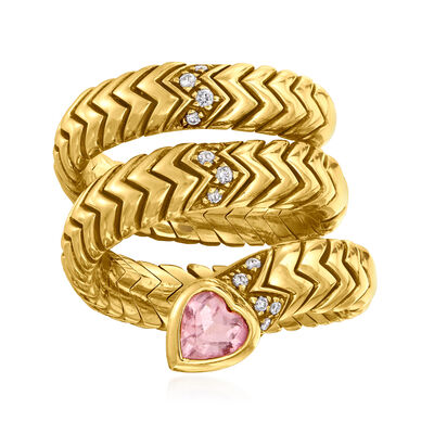 "C. 1980 Vintage Bulgari ""Serpenti Tubogas"" .50 Carat Pink Tourmaline and .14 ct. t.w. Diamond Coil Ring in 18kt Yellow Gold"