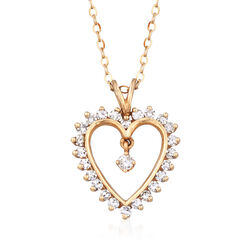 C. 1980 Vintage .60 ct. t.w. Diamond Heart Pendant Necklace in 14kt Yellow Gold, , default